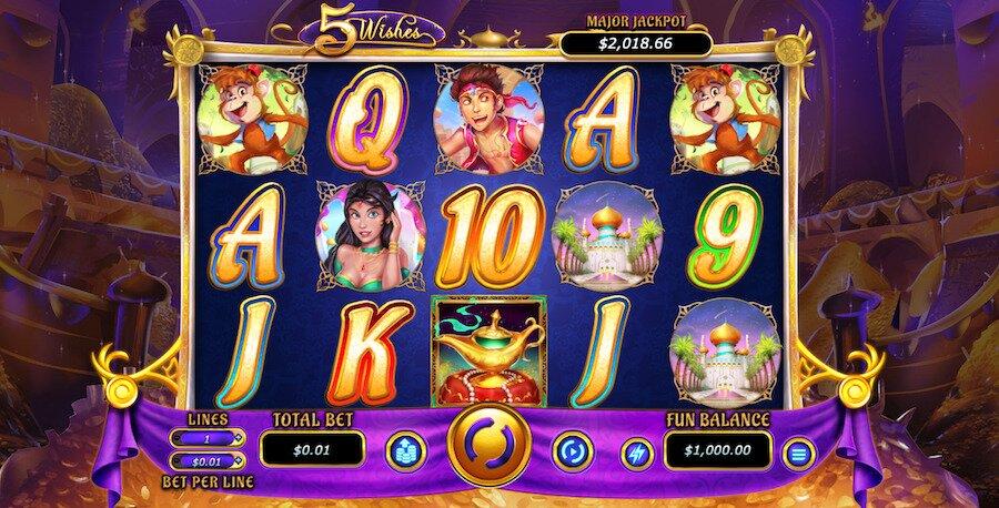 screenshot of 5 wishes slot game