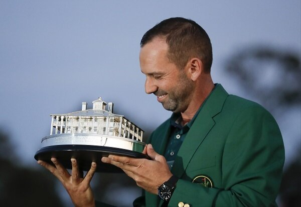 Sergio Garcia celebrates winning the Masters