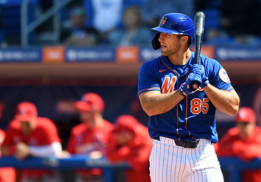 tim tebow during spring training with mlb new york mets